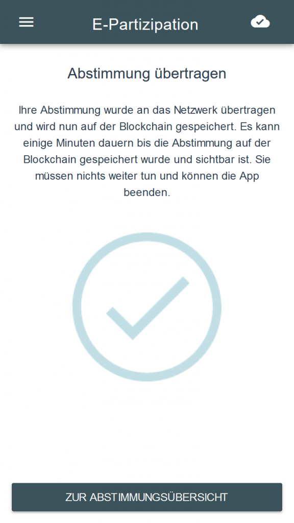 Screenshot der Feedbackseite der E-Partizipations App