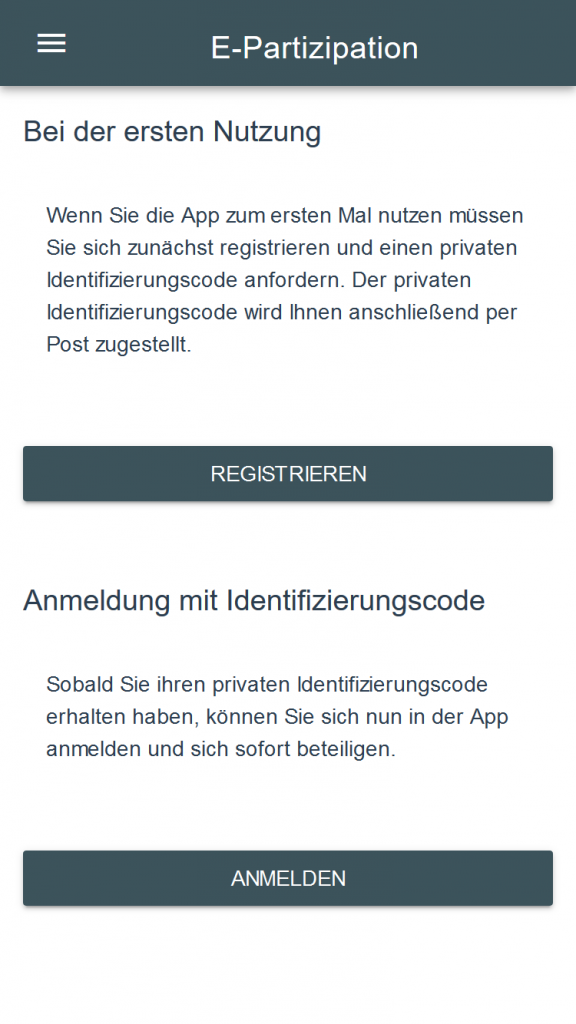Screenshot der Anmeldeseite der E-Partizipations App