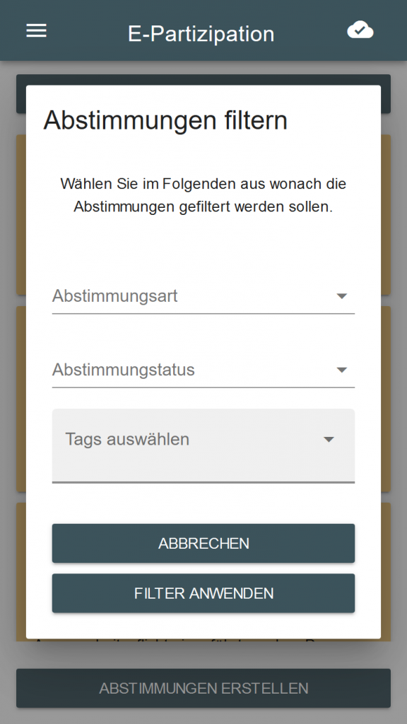Screenshot des Filter Dialogs der E-Partizipations App