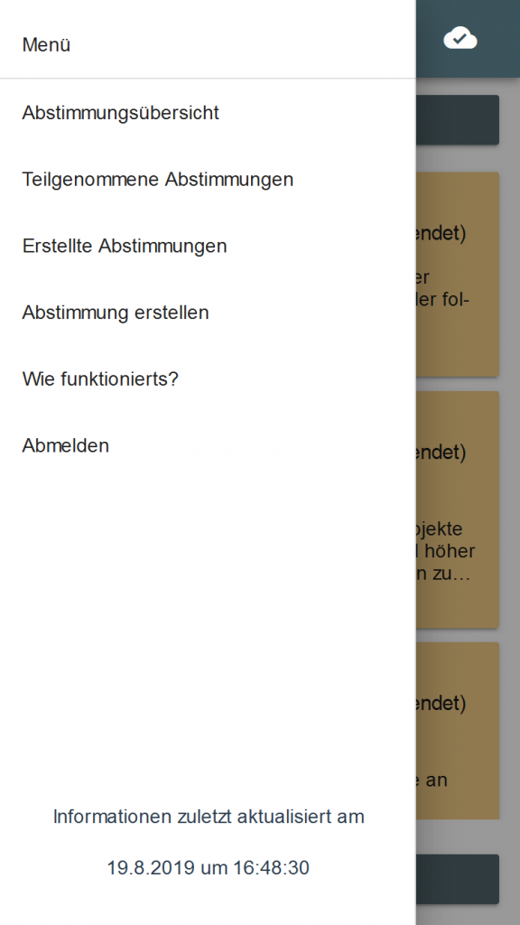 Screenshot des Menüs der E-Partizipations App